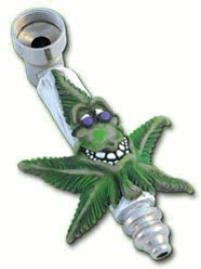 Metal Pipe with Happy Pot Leaf